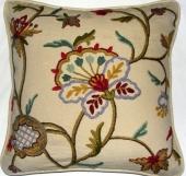 Crewel Pillow Riva Design on Natural Cotton Fabric