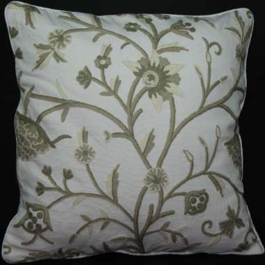 Crewel Pillow Danzdaar Design on natural cotton fabric