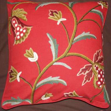 Crewel Pillow Lilly Design on Red Cotton fabric
