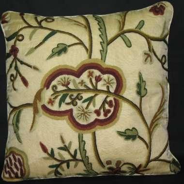 Crewel Pillow Watlab Design on Cotton Velvet fabric