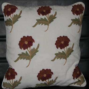 Crewel Pillow Manas Design on cotton fabric