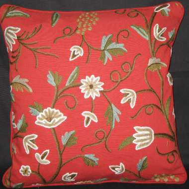 Crewel Pillow Cholie Design on Red Cotton Fabric