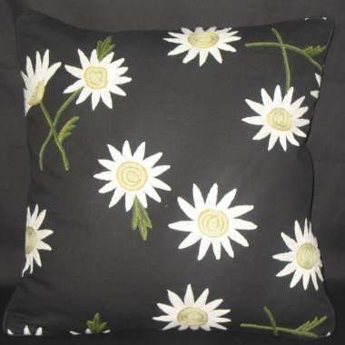 Crewel Pillow Gulab Design on Black Cotton Duck fabric