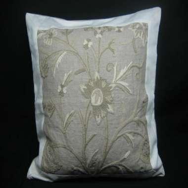 Crewel Pillow Danzdar design on Natural Linen Fabric