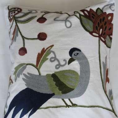 Crewel Pillow Peacock Design on White Cotton fabric