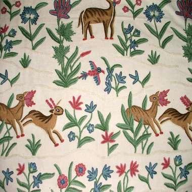 Crewel Fabric Jungle Deer White Cotton Doosuti