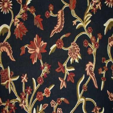 Crewel Fabric Harten Mallow Tree Black Duck