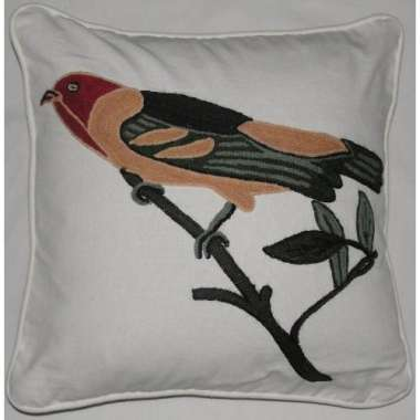 Crewel Pillow Sparrow on White Cotton Duck  Fabric