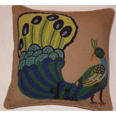 Crewel Pillow peacock design on cotton dyed fabric