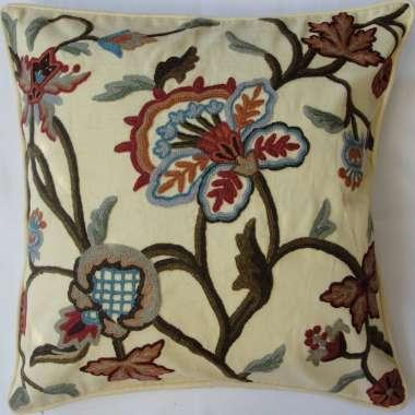 Crewel Pillow Arosa Design on Cotton Duck Fabric