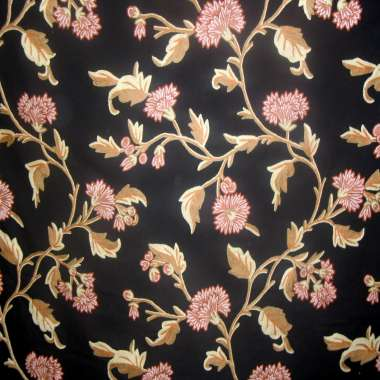 Crewel Fabric Panama Flower Black Duck