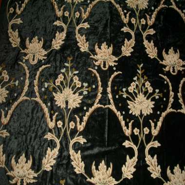 Crewel Fabric Renaissance Black Vine Rayon Cotton